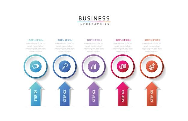 Modèle de conception infographie illustration vectorielle informations marketing avec 5 options ou étapes