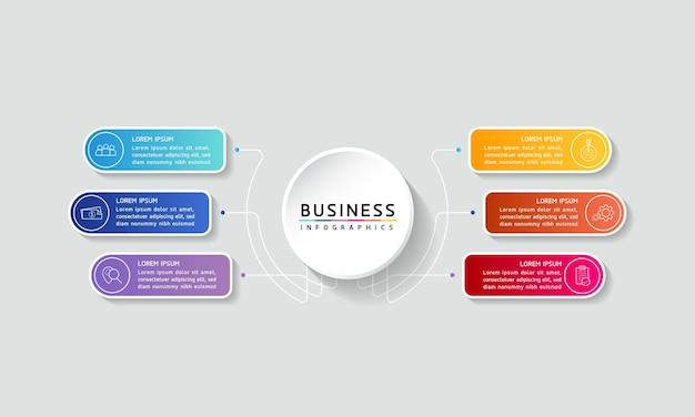 Modèle de conception infographie illustration vectorielle informations marketing avec 6 options ou étapes