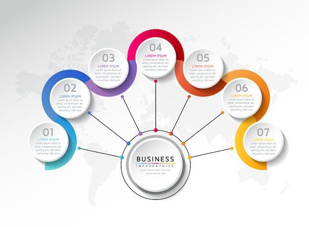 Modèle de conception infographie illustration vectorielle informations marketing avec 7 options ou étapes