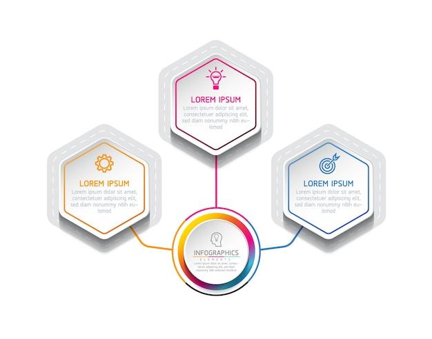 Modèle de conception infographie, informations commerciales, tableau de présentation, avec 3 options ou étapes.