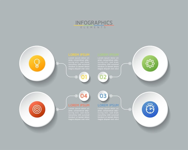 Modèle de conception infographie, informations commerciales, tableau de présentation, avec 4 options ou étapes.