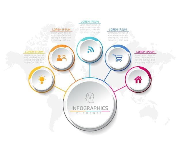 Modèle de conception infographie, informations commerciales, tableau de présentation, avec 5 options ou étapes.