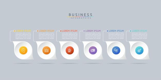 Modèle de conception infographie, informations commerciales, tableau de présentation, avec 6 options ou étapes.