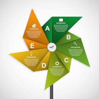 Modèle de conception infographie options abstraites.
