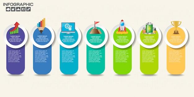 Modèle de conception d'infographie avec options, diagramme de processus.
