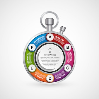 Modèle de conception d'infographie sous la forme d'un chronomètre.