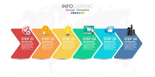 Modèle de conception infographie timeline avec 5 options, diagramme de processus