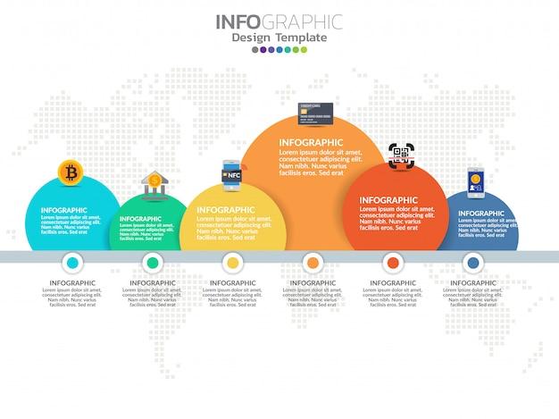 Modèle de conception infographie timeline avec 6 options, diagramme de processus.