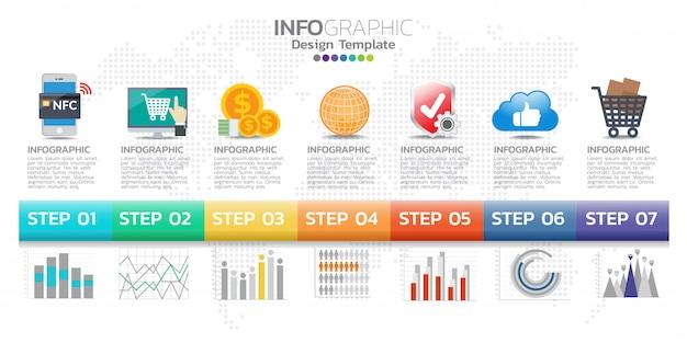Modèle de conception infographie timeline avec 7 options, diagramme de processus.