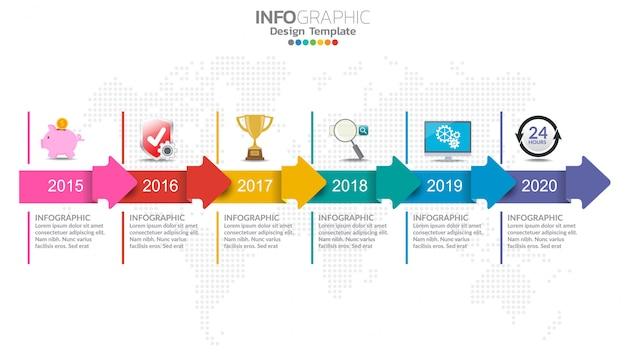 Modèle de conception infographie timeline avec options, diagramme de processus.
