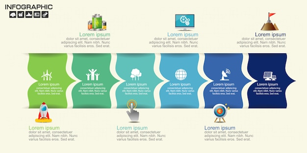 Modèle de conception infographie timeline avec six options.