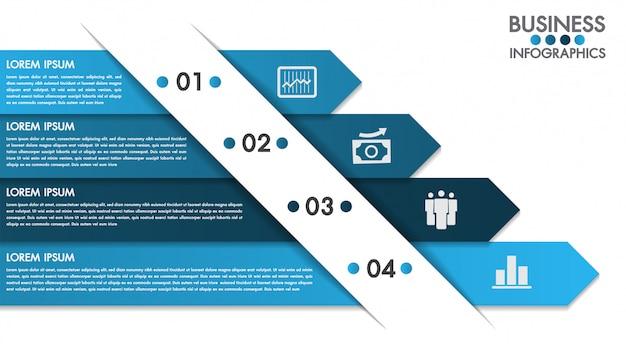 Modèle de conception infographie avec vecteur de concept 4 options