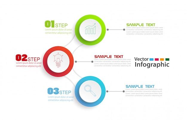 Modèle de conception infographie vectorielle avec 3 étapes