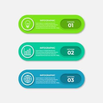 Modèle de conception d'infographie vectorielle avec 3 options ou étapes