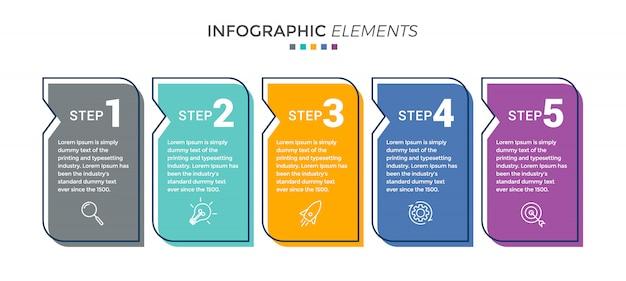Modèle de conception d'infographie vectorielle avec 5 options ou étapes