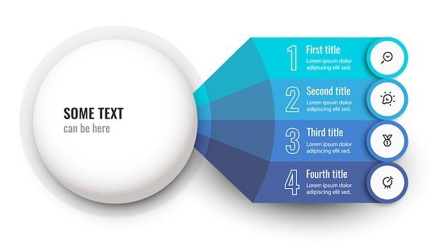 Modèle de conception d'infographie vectorielle avec icônes et 4 options ou étapes
