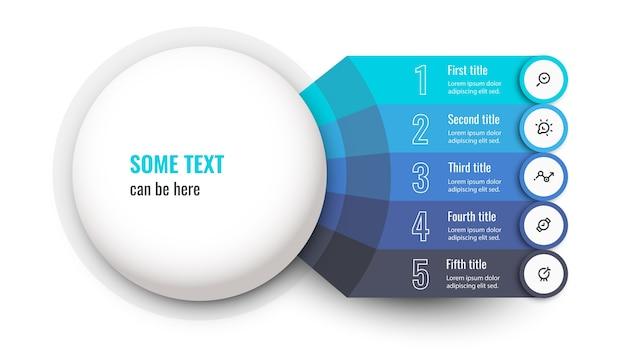 Modèle de conception d'infographie vectorielle avec icônes et 5 options ou étapes
