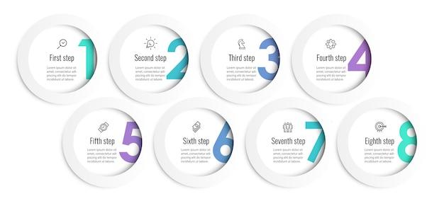 Modèle de conception d'infographie vectorielle avec icônes et 8 options ou étapes