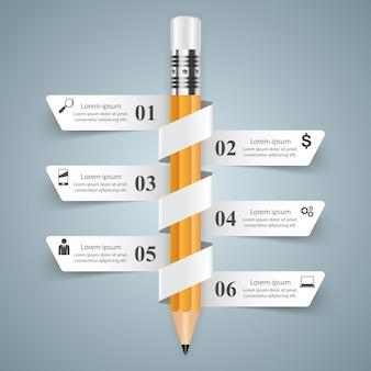 Modèle de conception infographique 3d et icônes marketing.