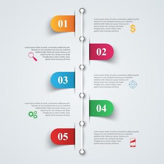 Modèle de conception infographique 3d et icônes marketing