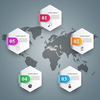 Modèle de conception infographique 3d