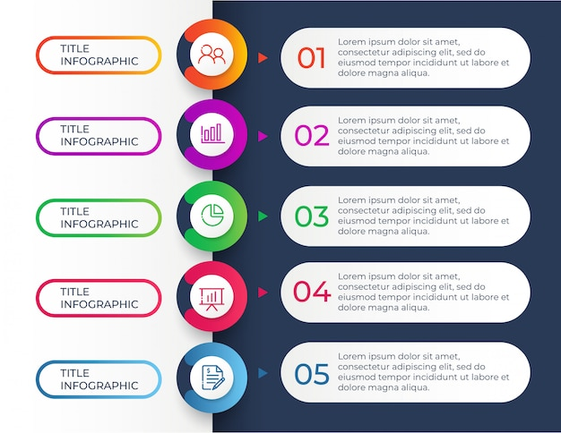 Modèle de conception infographique avec 5 étapes d'options