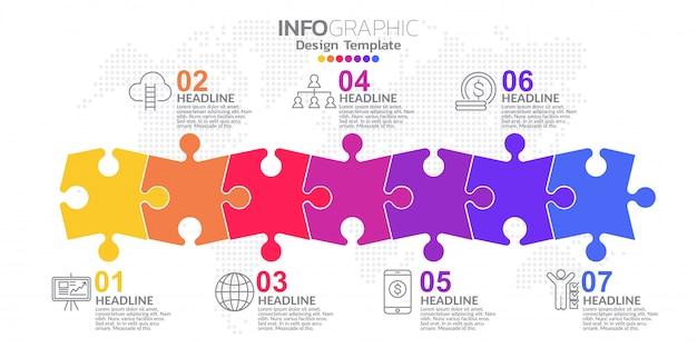 Modèle de conception infographique avec 7 options de couleur.