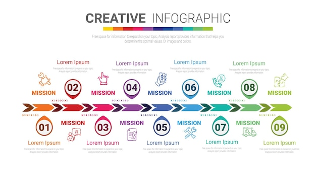 Modèle de conception infographique avec 9 options