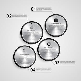 Modèle de conception infographique cercle abstrait.