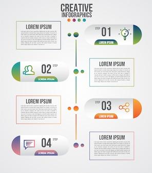 Modèle de conception infographique de chronologie moderne pour les entreprises avec 4 étapes ou options illustrées