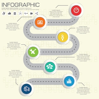 Modèle de conception infographique de la chronologie de la route avec des icônes de couleur.