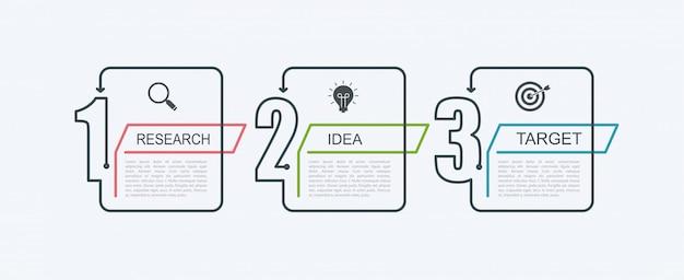 Modèle de conception infographique de chronologie avec structure par étapes. concept d'entreprise avec 3 pièces d'options ou étapes. schéma fonctionnel, graphique d'information, bannière de présentations, flux de travail.