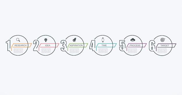 Modèle de conception infographique de chronologie avec structure par étapes. concept d'entreprise avec 6 pièces d'options ou étapes.