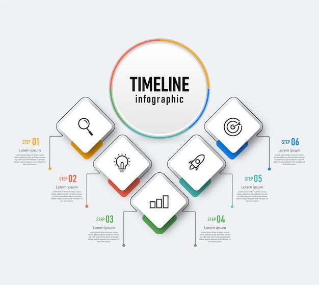 Modèle de conception infographique de la chronologie