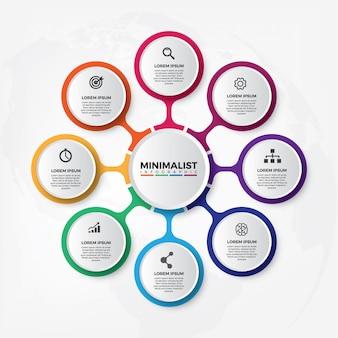 Modèle de conception infographique circulaire 3d
