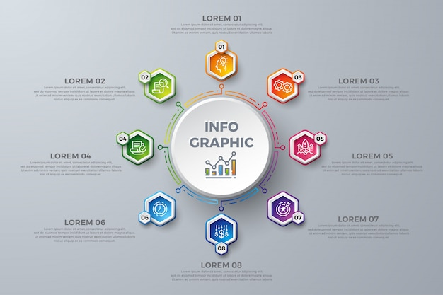 Modèle de conception infographique coloré avec 8 choix de processus ou étapes.