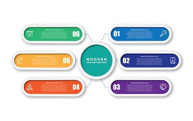 Modèle de conception infographique coloré