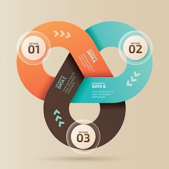 Modèle de conception infographique concept créatif avec 3 étapes
