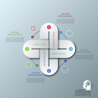Modèle de conception infographique créative avec quatre maillons de chaîne multicolores connectés ensemble, des icônes de fine ligne et des zones de texte.