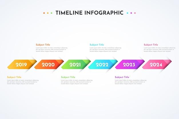 Modèle de conception infographique dégradé de la chronologie