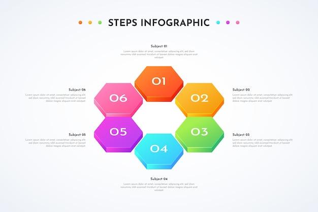 Modèle de conception infographique dégradé d'étapes