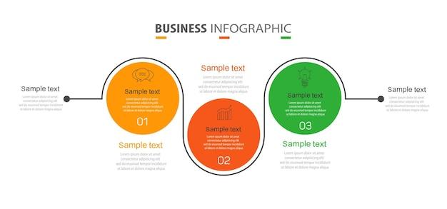 Modèle de conception infographique d'entreprise avec 3 options