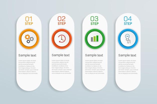 Modèle de conception infographique d'entreprise avec 4 étapes ou processus d'options