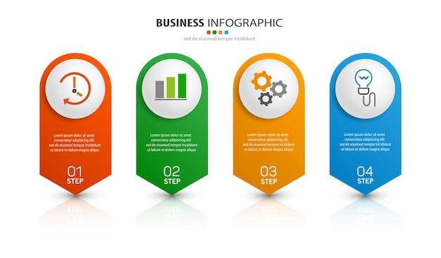 Modèle de conception infographique d'entreprise en 4 étapes
