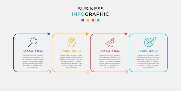 Modèle de conception infographique d'entreprise avec des icônes et 4 quatre options ou étapes.