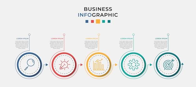 Modèle de conception infographique d'entreprise avec des icônes et 5 cinq options ou étapes.