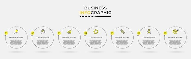 Modèle de conception infographique d'entreprise avec des icônes et des options