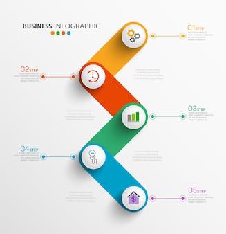 Modèle de conception infographique d'entreprise moderne avec 5 étapes