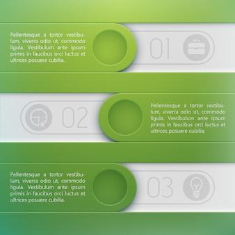 Modèle de conception infographique d'entreprise avec place de texte pour trois étapes d'options ou processus à plat