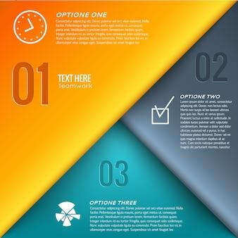 Modèle de conception infographique d'entreprise avec texte et icônes de trois options